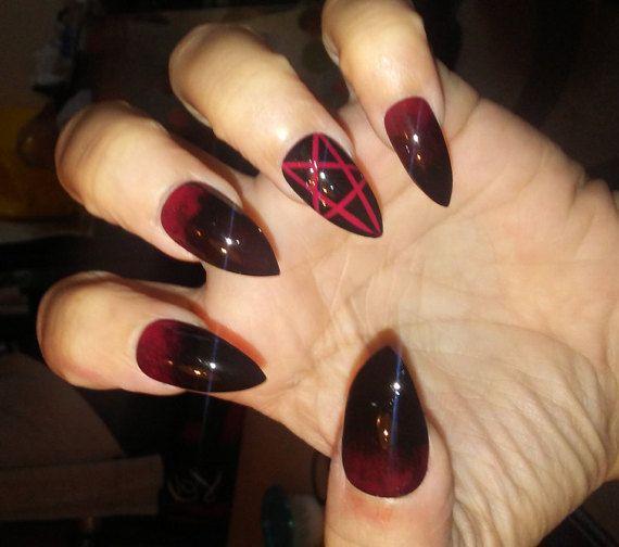 Gothic Stiletto Pentagram Nails Black Red Halloween Nails Etsy Gothic Nails Red Acrylic Nails Goth Nails