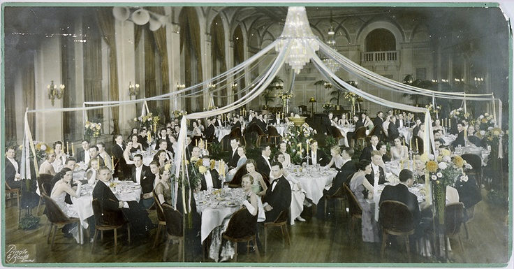 """The Ballroom, circa 1930. When the Royal York hotel opened its doors on June 11, 1929, it brought about a new social era, attracting a true """"who's who"""" list of royalty, celebrities, dignitaries and leisure travellers to the city of Toronto. On opening night, the Royal York hosted four grand balls where guests dined and danced until the wee hours of the morning. It set a new standard in luxury, elegance and entertainment."""