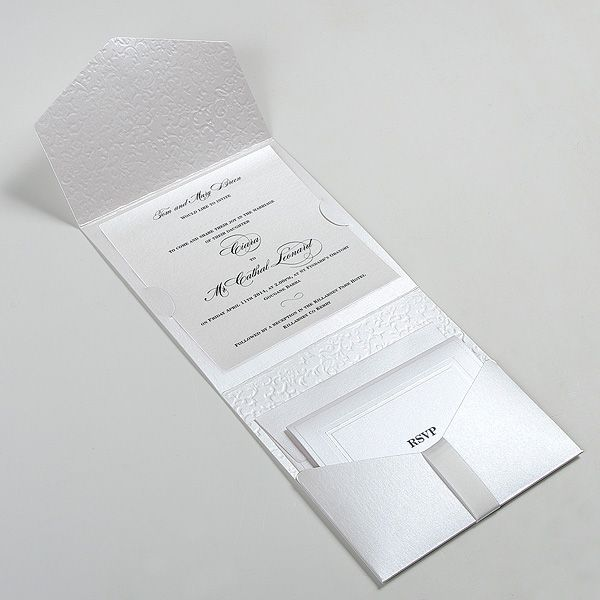 Luxury pocketfold wedding invitations made of white pearlescent card stock with elegant embossing which imitates the texture of the antique arras. Description from polina-perri.co.uk. I searched for this on bing.com/images