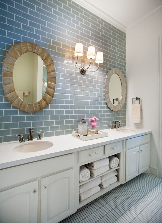 modern clean bathroom with blue ceramic subway tile and white cabinets - Bathroom Subway Tile Backsplash