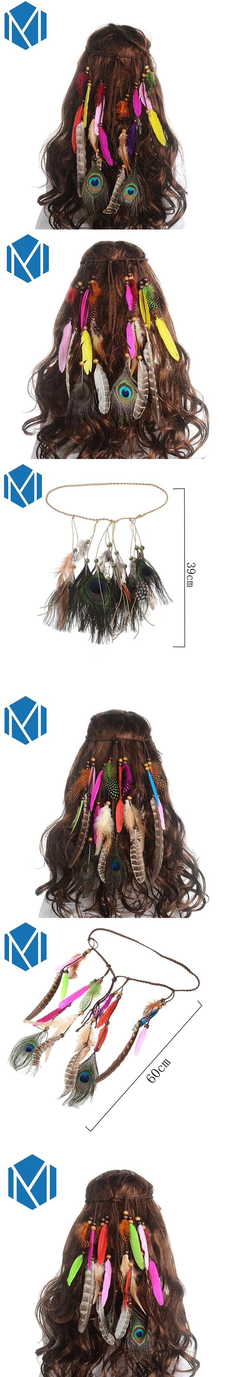 M MISM Girls Colorful Feather Headband 2017 New Festival Hippie Hair Band Accessories for Women Boho Styling Peacock Headdress