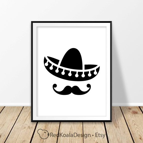 Sombrero hat print Mexico Digital print Mexican hat Mustache Cinco de Mayo El sombrero Mexican home decor New Mexico Cancun Wall art Poster by RedKoalaDesign on Etsy