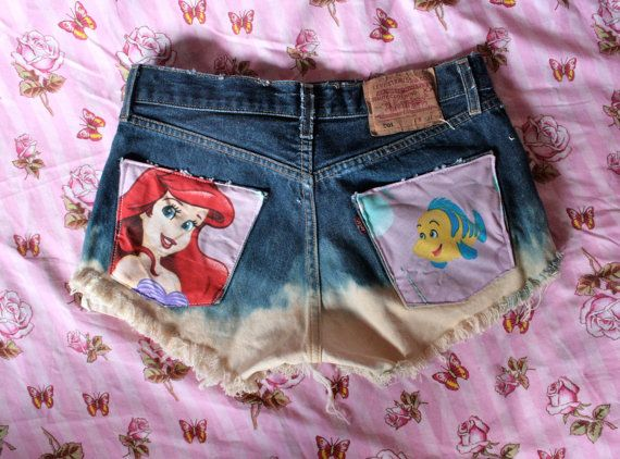 Little Mermaid - Vintage Levi 501s  dip dye high waist denim shorts - distressed cut offs. $35.00, via Etsy.