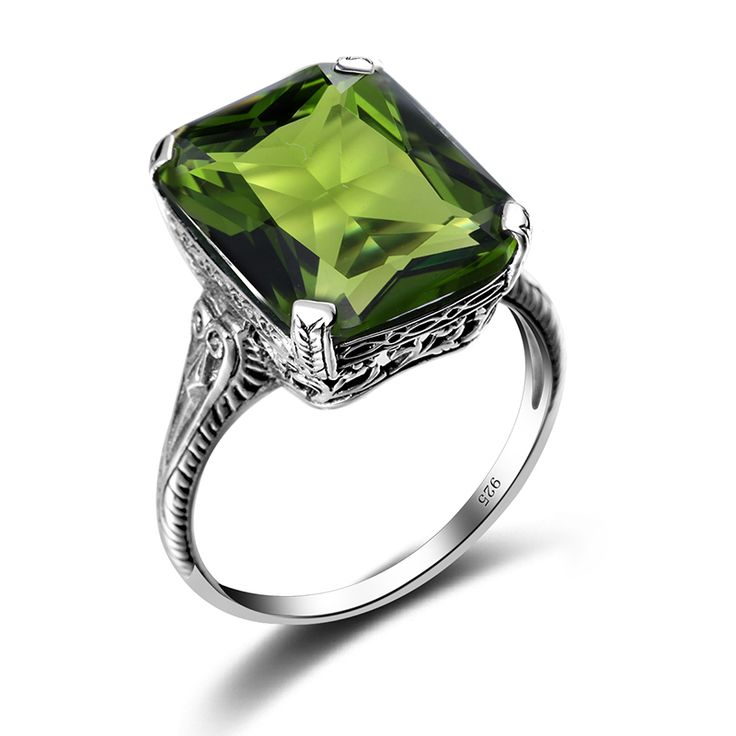 Szjinao 2.3ct Casual Olivine Vintage Women's Ring 925 Sterling Silver Green Party 2016 New Brand Fine Jewelry Christmas Gifts