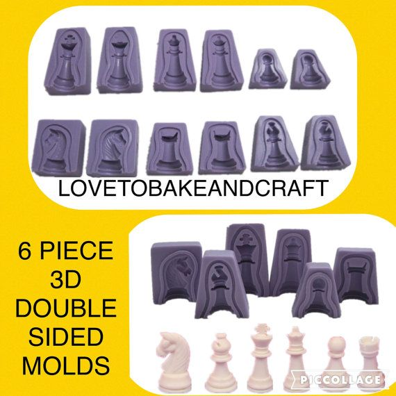 Chess mold 6 pieces 3D silicone Chess  mould by Lovetobakeandcraft
