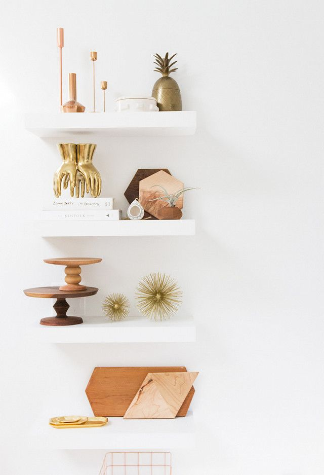 Home office with mounted floating shelves styled with wood, gold, and brass  décor accents - 74 Best Images About Floating Shelf Awesomeness On Pinterest