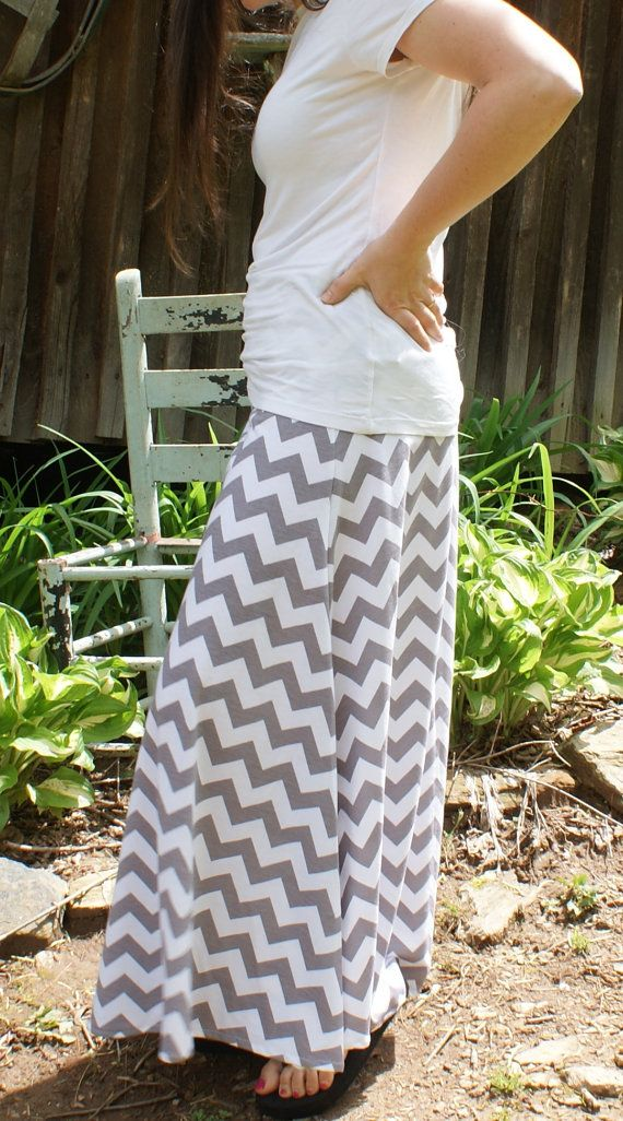 Womens Maxi Skirt chevron stripe modest long yoga band Tons of color Available.  Gray, Coral, Black on Etsy, $35.00