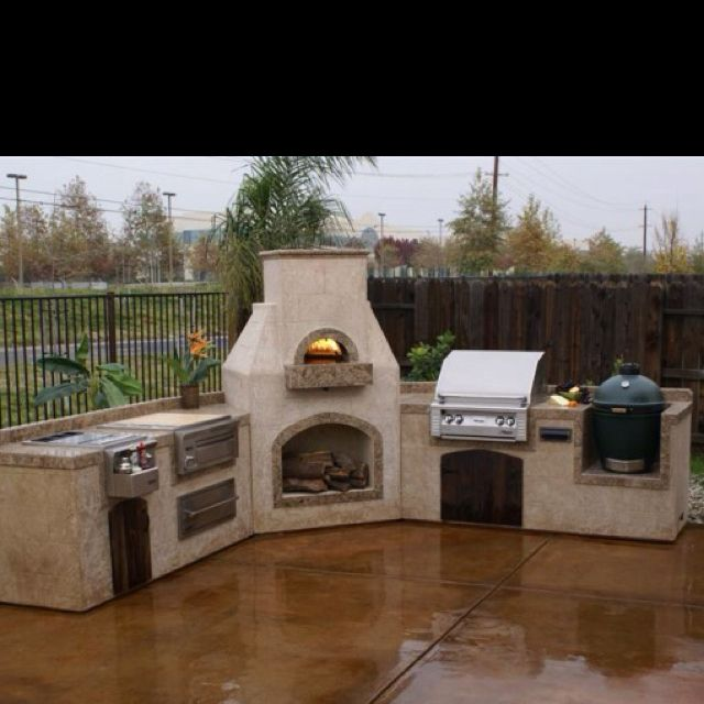 Outdoor Kitchen W/ A Wood Burning Pizza Oven | Outdoor Fireplace |  Pinterest | Wood Burning, Oven And Pizzas