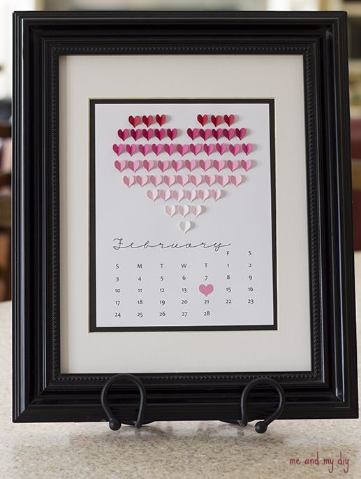 3D hearts February calendar (with free printable PDFs and cut files for hand-cutting or Silhouette machine) by Debbie Hamilton Thompson