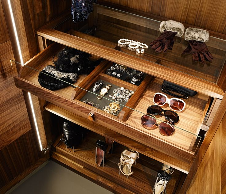 Maybe I could make custom inserts for each drawer, and set them in a standard closet system?