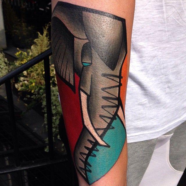 Simple Colorful Elephant Tattoo
