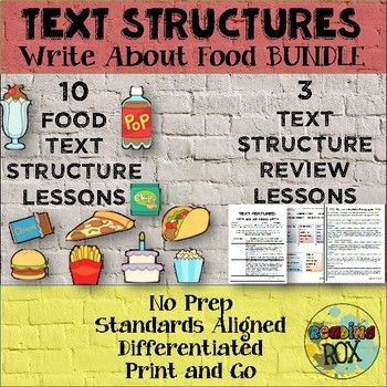 Text Structures Writing Activity Food Bundle