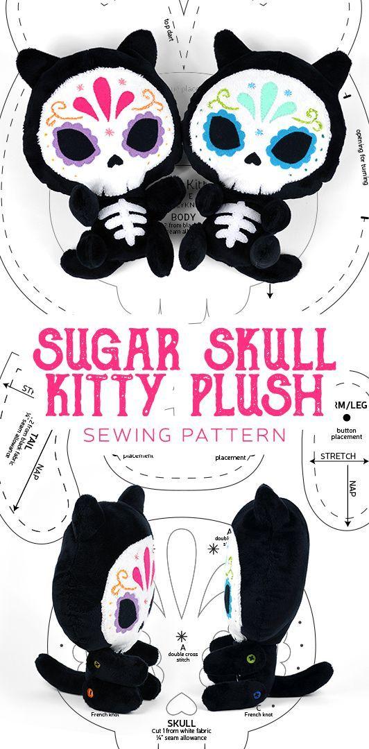 Sugar Skull Kitty Plush Pattern by SewDesuNe.deviantart.com on @DeviantArt