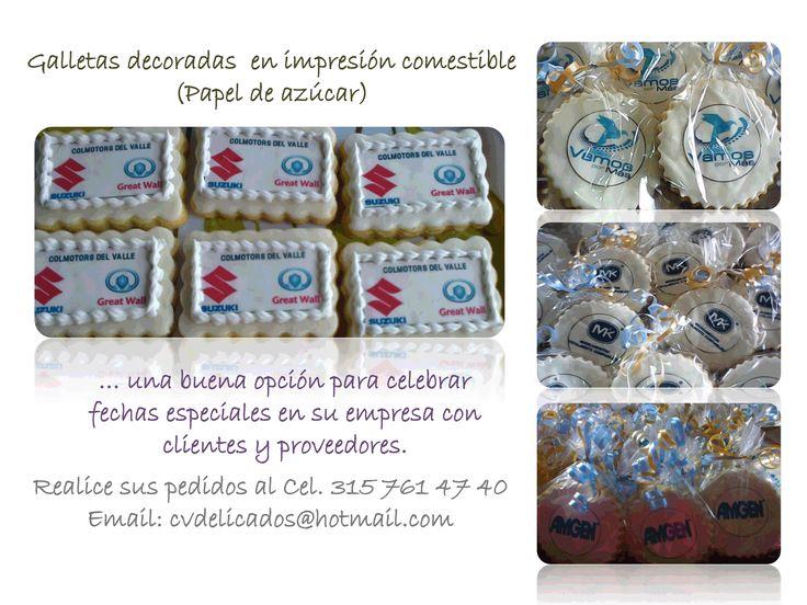 Galletas corporativas decoradas con impresiones comestibles en papel de azucar con el logo de las empresas.