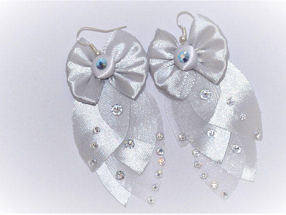 Oversize drop earrings Swarovski stones silver plated hooks