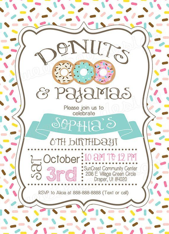 Donut And Pajamas Invitation Donut Birthday Invite Pajama Party