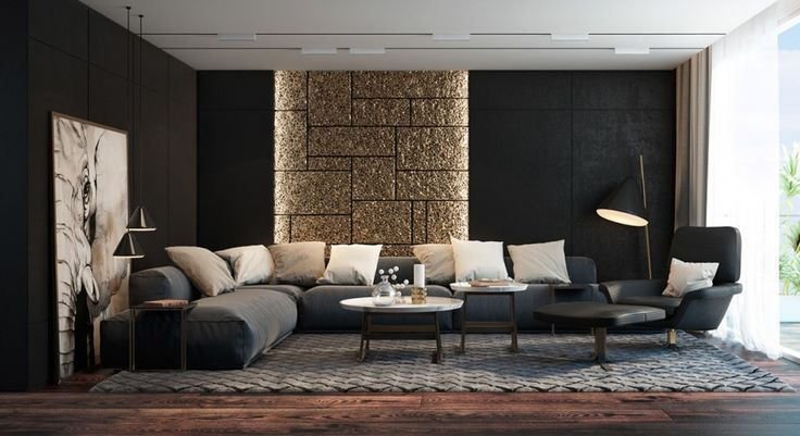Living Room Stone Accent Walls Black Puff Sofa Black Swivel Chair Part 77