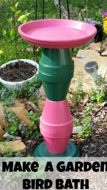 DIY bird bath flower pots crafts garden crafts