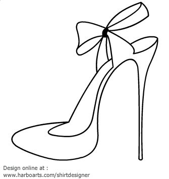 High Heel Printables | High heel blade shoes outline with ribbon bow closing as vector ...