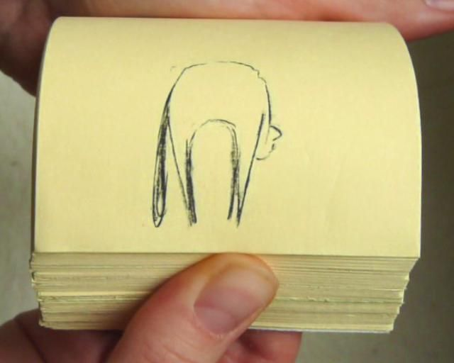 Cat Flip Book by matthieu scanlon. flip book sur un épais bloc de post-it (2009)