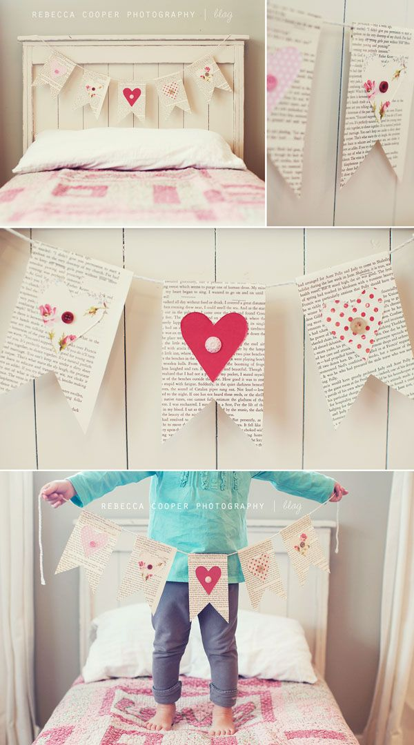 Easy banner with book pages, paper hearts, and buttons.  So lovely!