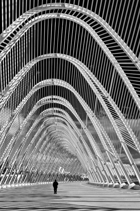 OAKA Stadium, Athens, Greece   ~by eugkyrOaka Stadium, Athens Greece, Arches, Skeletons, Santiago Calatrava, Travel, Abstract Photography, Amazing Architecture, Structures