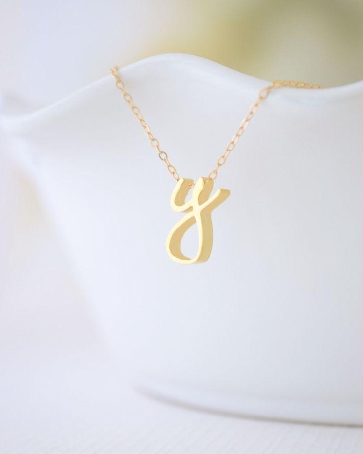 Cursive Gold Letter Necklace |  Starting at $45.00 | OliveYew.com
