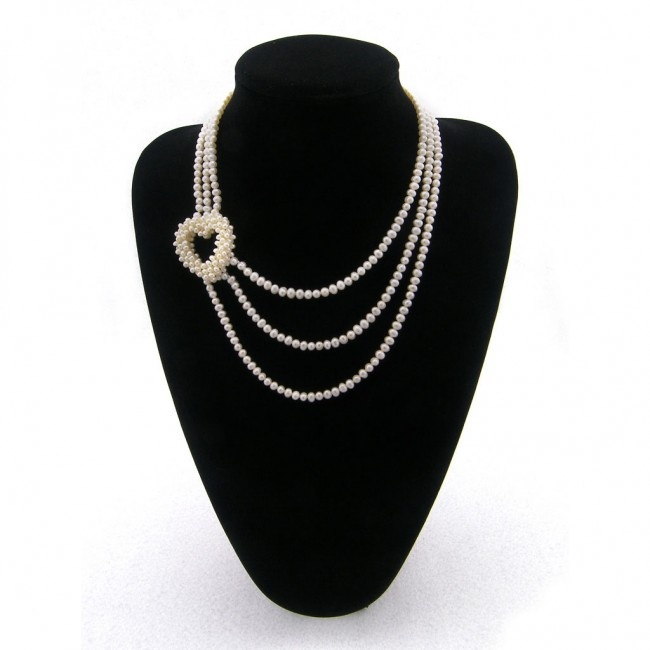 3-Row Sterling Silver White Pearl Necklace with a pearl Heart Knot, valentines day