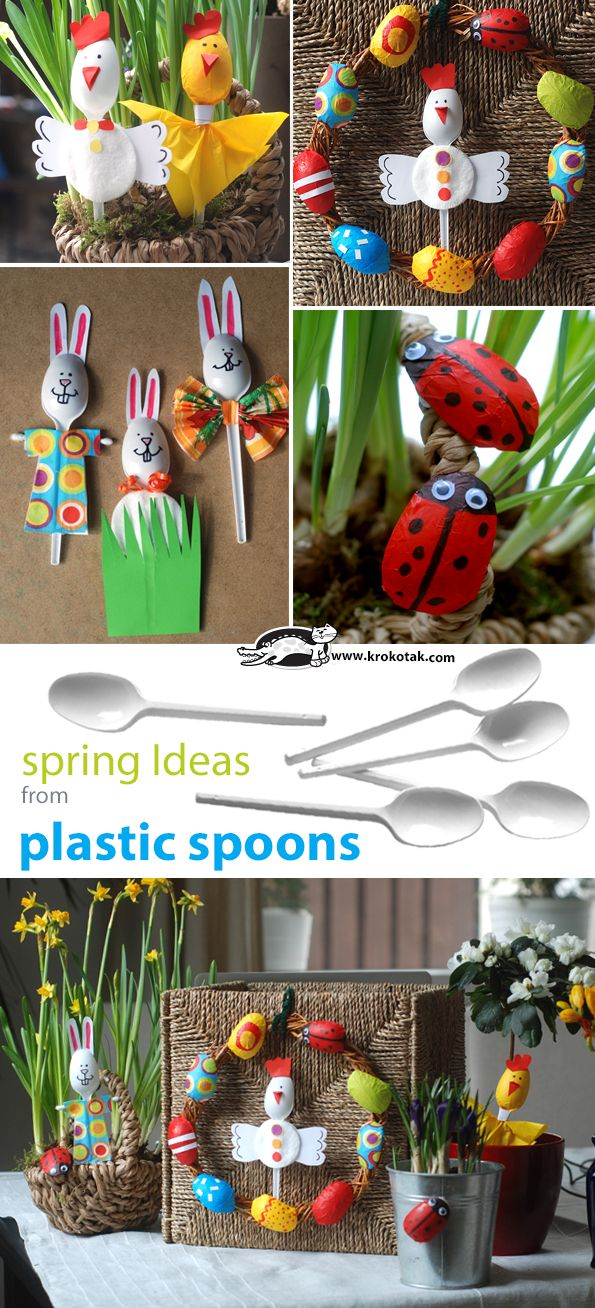 Spring crafts using plastic spoons Easter eggs, bunnies, chicks