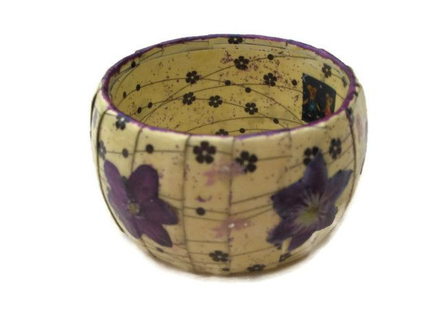 Handmade Upcycled Decoupage Flower Bangle
