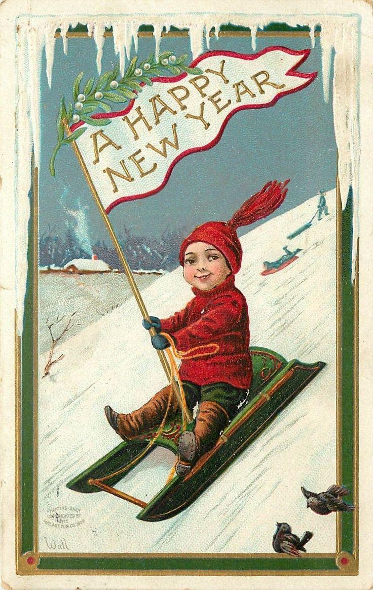 Зарубежные старые новогодние открытки, смешные мультики