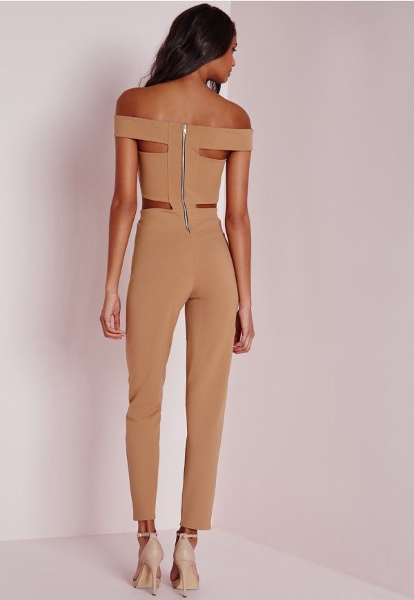 Bandage Bardot Tapered Leg Jumpsuit Camel - Jumpsuits - Missguided
