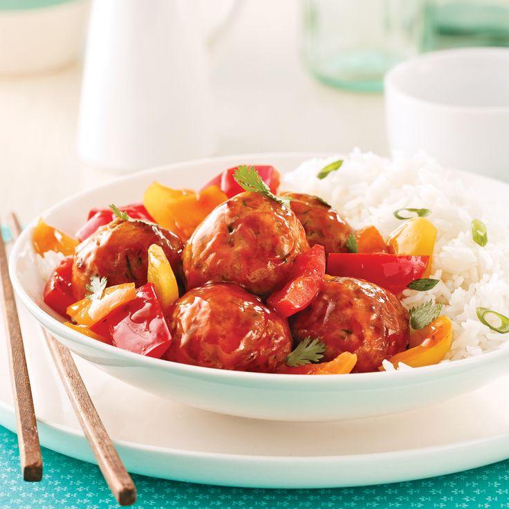 Boulettes au poulet, sauce Général Tao - Soupers de semaine - Recettes 5-15 - Recettes express 5/15 - Pratico Pratique