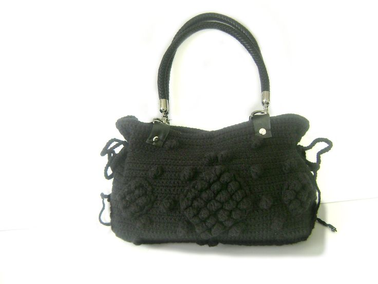 Handmade Black  Knit Bag Celebrity StyleCrochet winter  by hibbe, $90.00
