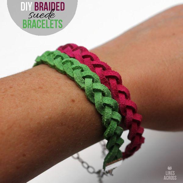 #DIY Braided Suede Bracelets @linesacross.  #jewelry