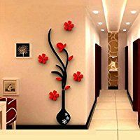 Edtoy 3D vase plum wall stickers living room sofa TV...