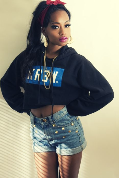 Swag. Dope Outfit. Sweater Midriff. Bandana Hairstyle. Urban Fashion. Urban Outfit. Hip Hop Fashion. Hip Hop Outfit