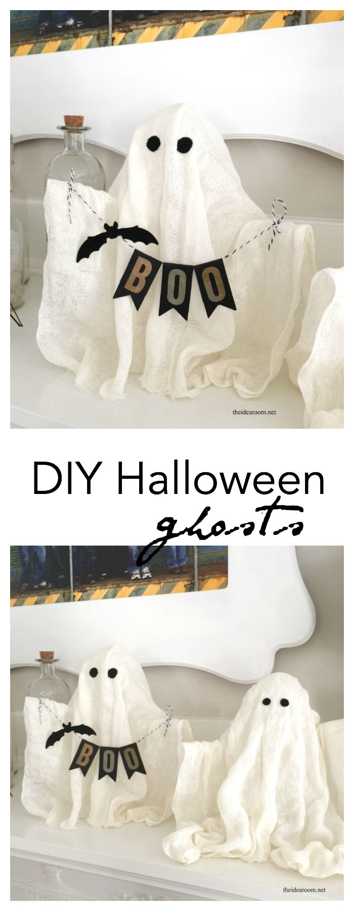 DIY-Halloween-Ghosts Create some fun DIY Halloween Ghosts for your Halloween Decor or Halloween Party this year. Easy Halloween craft tutorial made out of cheese cloth.