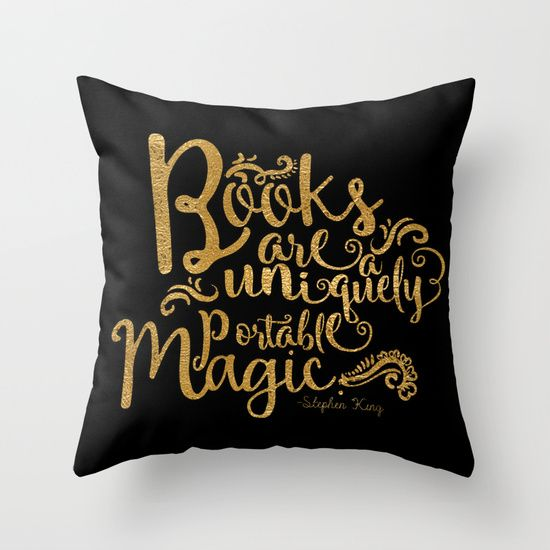 Books are a Uniquely Portable Magic Gold by Evie Seo throw pillow at Society6.com