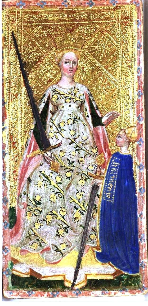 Visconti-Sforza Tarot: Queen of Swords.  The most famous was painted in the mid-15th century, to celebrate Francesco Sforza and his wife Bianca Maria Visconti, daughter of the duke Filippo Maria. Probably, these cards were painted by Bonifacio Bembo or Francesco Zavattari between 1451 and 1453.[10]