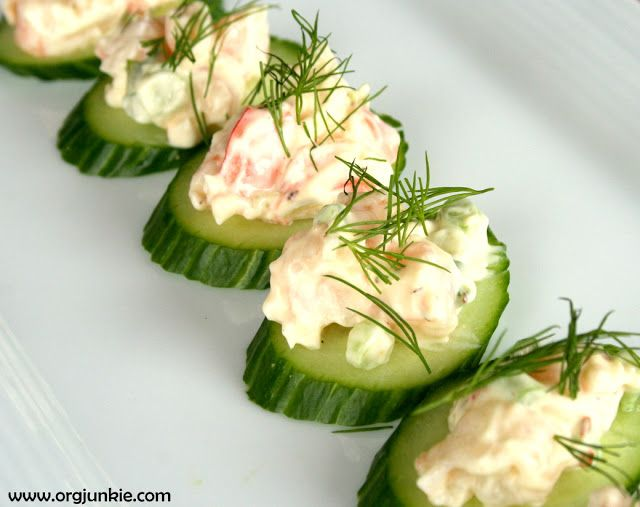 """Shrimp Cucumber Appetizer"" - very easy as it requires no cooking, baking or grilling and can be made in 15 minutes AND can be eaten right away or refrigerated until serving time! - GLUTEN FREE"