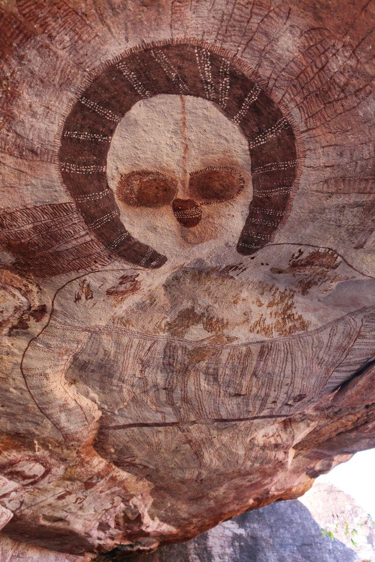 Aboriginal Rock Art The Kimberley, Western Australia,image of The Wandjina  - cloud and rain spirits from Australian Aboriginal mythology