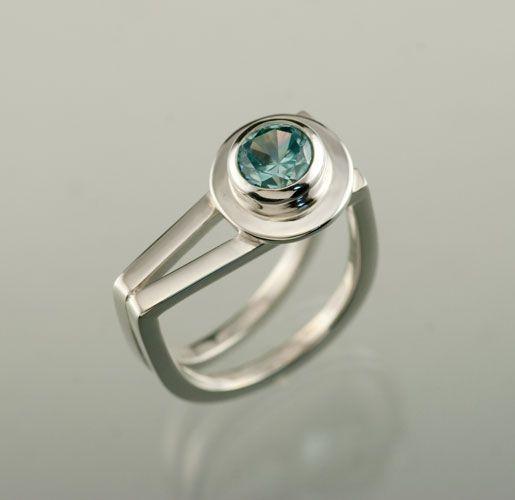 """Zircon in """"V"""" shaped Sterling Silver ring. handmade by Jen Lawler www.jenlawlerdesigns.etsy"""