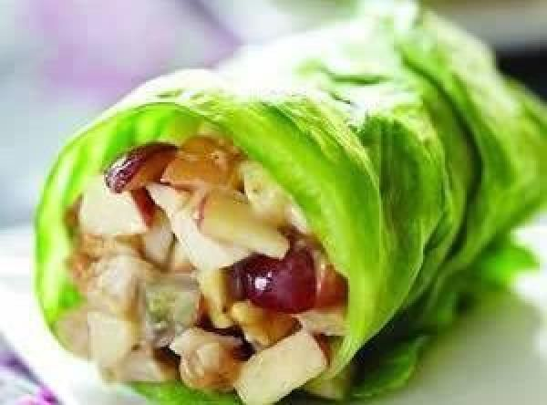 Chicken Salad Apple Wraps Recipe  PB and mayo - sounds weird, tastes great! Can use leftover chicken