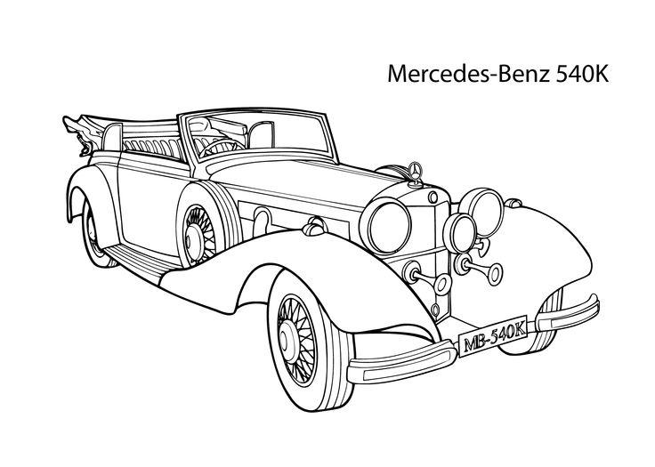 H2 Hummer Coloring Pages: Super Car Mercedes Benz 540K Coloring Page, Cool Car