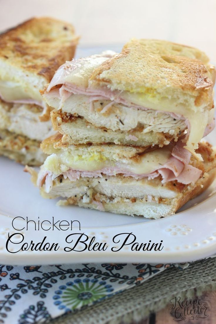 Chicken Cordon Bleu Panini - Breaded chicken breasts with melted provolone cheese and thinly sliced ham on a hot-pressed sandwich.