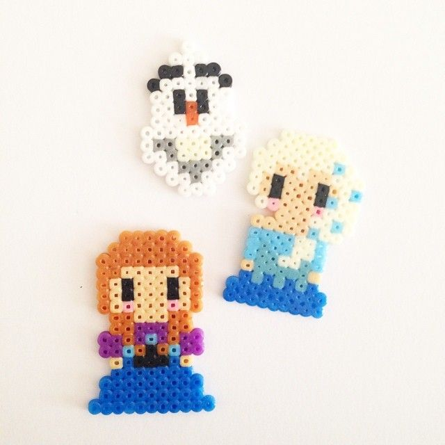 Olaf, Elsa and Anna - Frozen perler beads by pixelempire