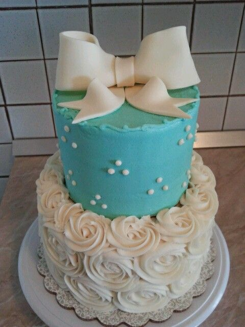 Tiffany blue and white 2 tier birthday cake