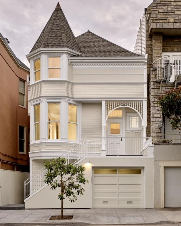 Its Queen Anne facade was preserved, but the interior of this Victorian was completely redone and transformed into a modern wonder. The grand San Francisco home now has an open floor plan with soaring ceilings across three stories, and a crisp white palette to highlight its architectural features, like the custom steel blade staircase. >> http://www.hgtv.com/design/ultimate-house-hunt/2017-ultimate-house-hunt/modern-masterpieces/modern-masterpieces-modern-day-victorian