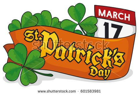 Banner with a four-leaf shamrock, a ribbon lay on it, some trefoil clovers and a loose-leaf calendar with reminder date for St. Patrick's Day celebration.